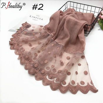 Fashion women long flower pattern embroidery scarf hijab ladies lace pashmina scarf