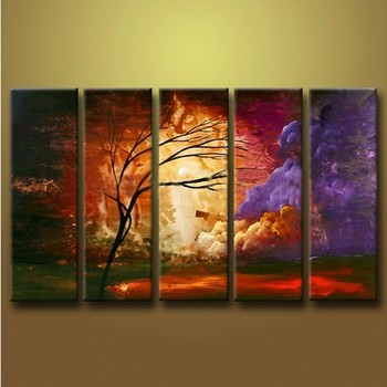 2015 Hottest Seller 3d Effect Abstract Trees Oil Painting Dark ...