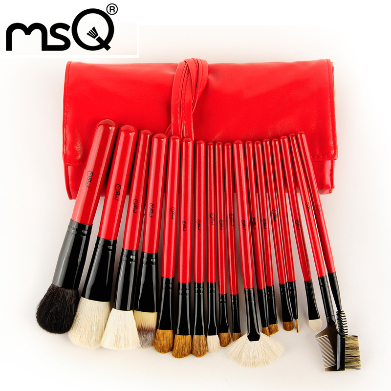 Free Shipping 2015 Hot Professional MSQ Brand 18Pcs Goat Hair Cosmetic Brush Set With PU Case For Wholesale Fashion Beauty