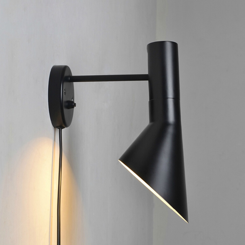 fashion nordic ikea black wall light led wall sconce brief trumpet shape rh loft wall lamp for. Black Bedroom Furniture Sets. Home Design Ideas