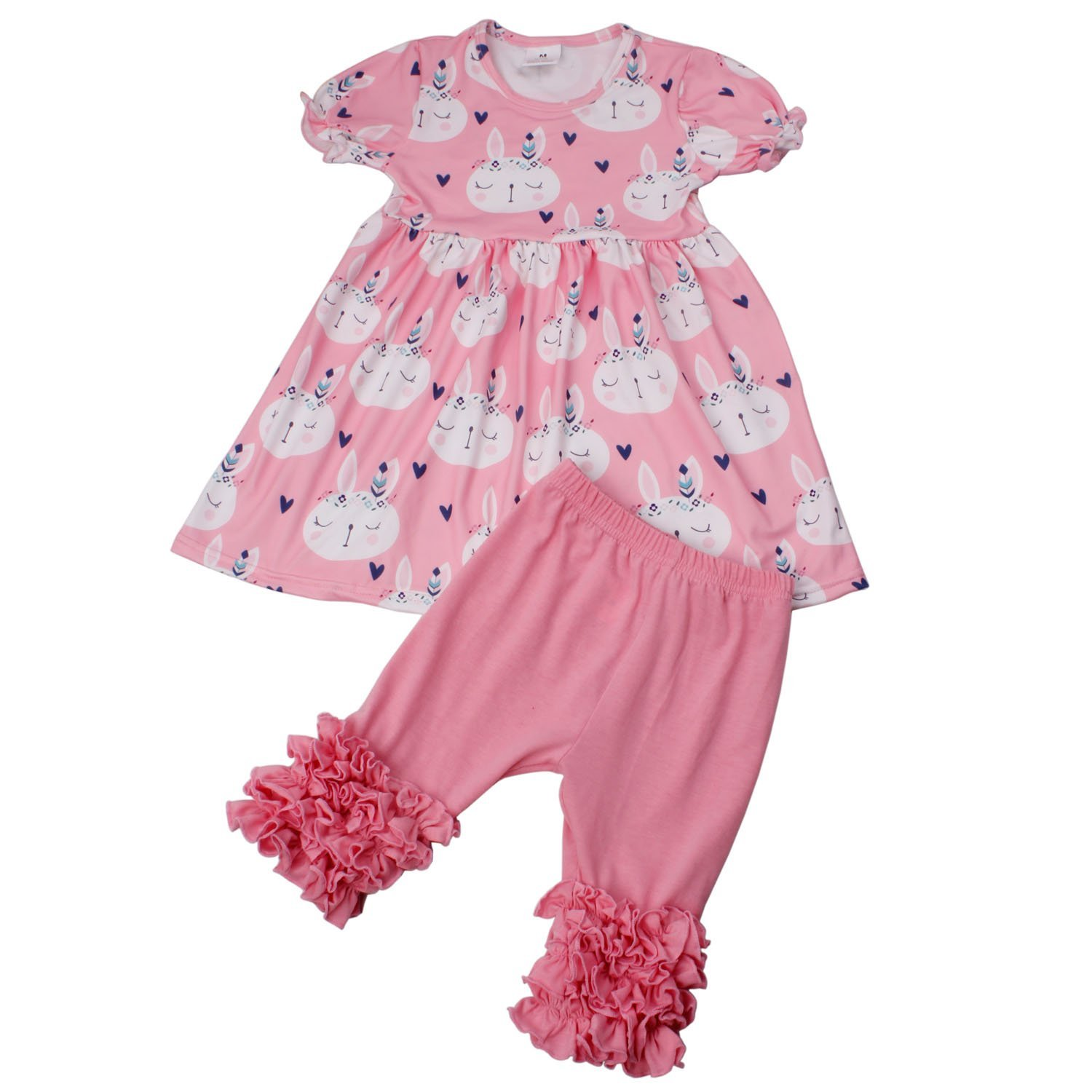 0292e446ba Get Quotations · Yliyang Baby Girls Summer Outfits Rabbit Print Ruffle  Dress Pants Boutique Outfits Clothing