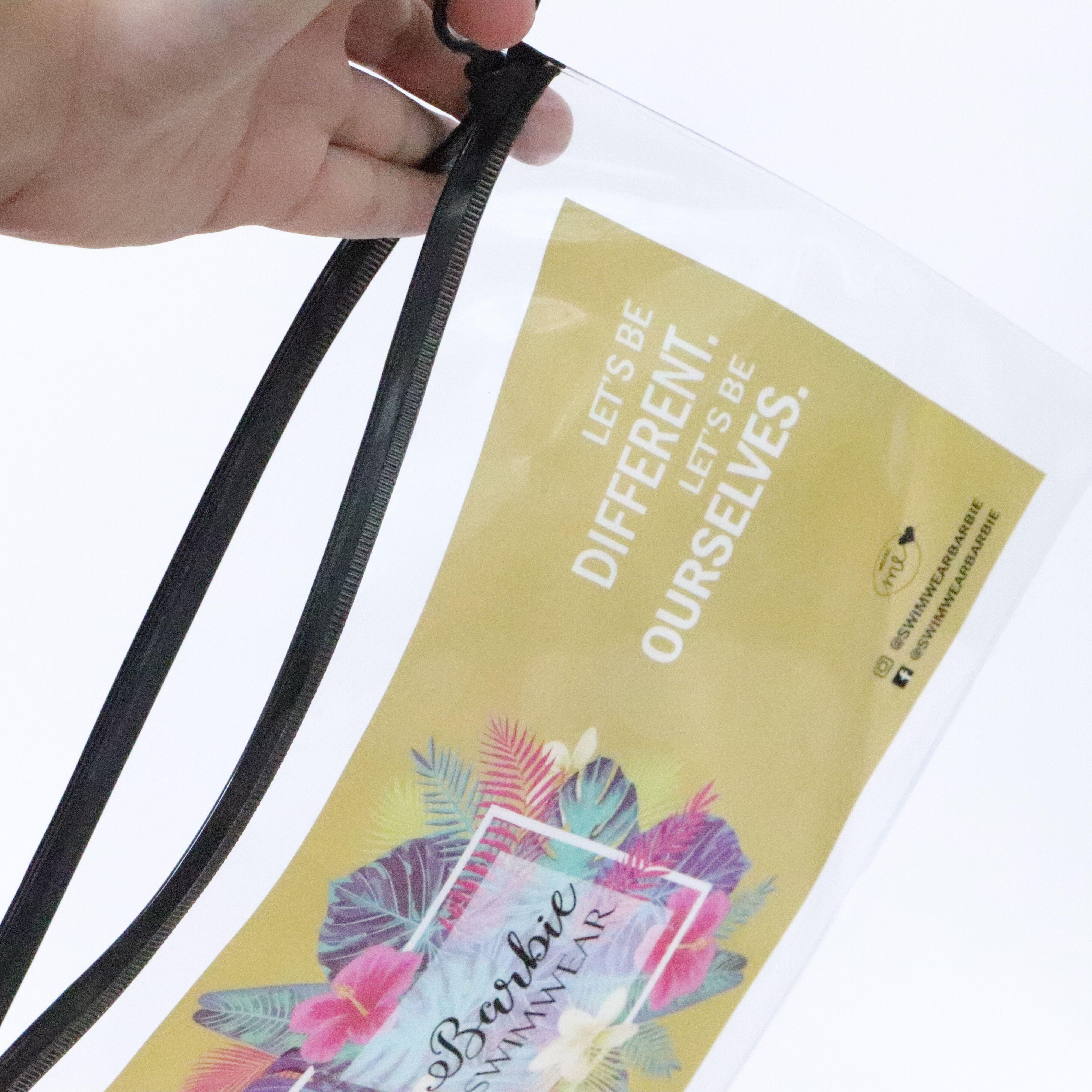 Reciclable de marca logotipo colorido transparente de PVC de la cremallera bolsa de plástico de embalaje para ropa de viaje cosmético Ziplock bolsa