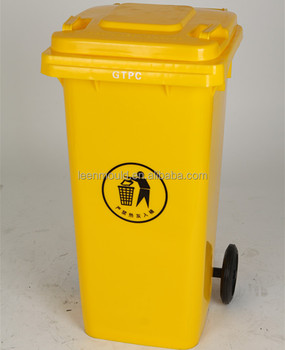 China New 100l Green Red Outdoor Mobile Garbage Can With Wheels Waste Bins