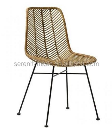 Modern plastic weaving rattan furniture stool chair with metal legs