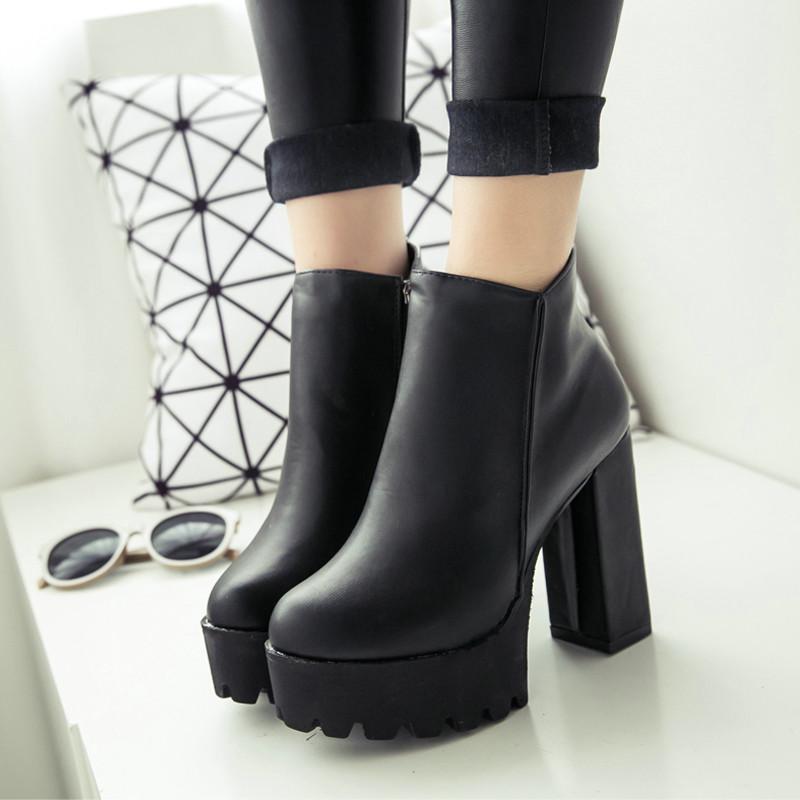 Compre Botas De Invierno Para Mujer Plataforma Negra Con Cordones Y ... 14fffe074c90