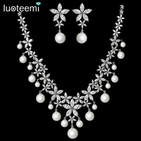 LUOTEEMI Women Exquisite Rhodium Plated Sea Shell Pearl Clear Sparkling CZ Flower Luxury Bridal Wedding Jewellery Set