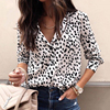 Women Long Sleeve Leopard Blouse V neck Plus Size Shirts Ladies OL Party Top Streetwear blusas femininas Y11754
