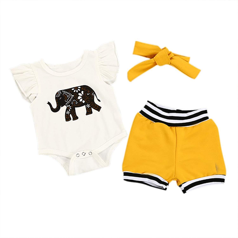 Zhengpin 3 PCS Baby Clothing Sets Short Sleeved Romper Tops+Pants+Headband