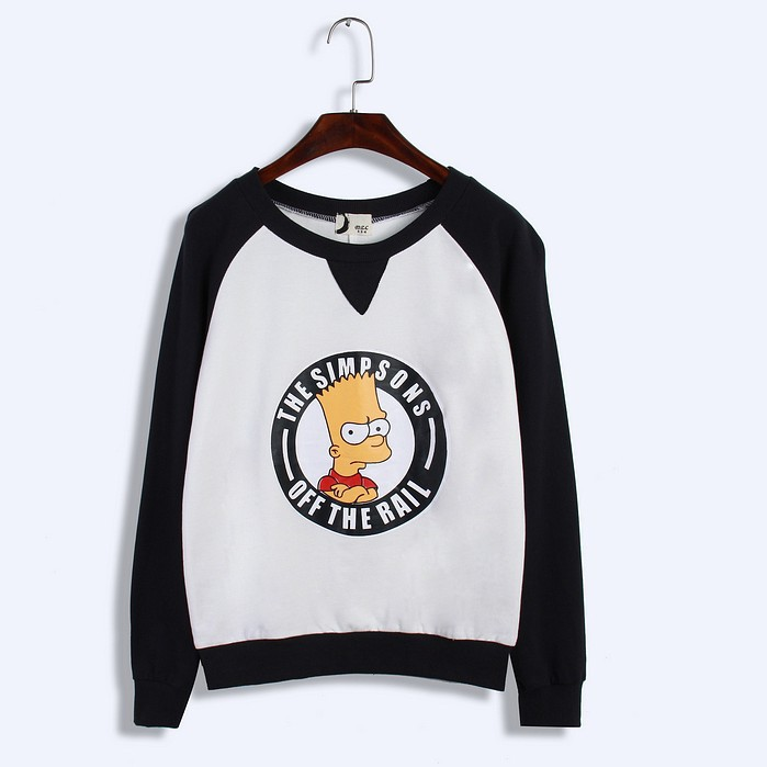 New Arrival Of 5 Colors Cartoon Simpson Printing Women Sweatshirts 2015 Autumn Harajuku Sweatshirt Stitch Casual Loose Pullovers