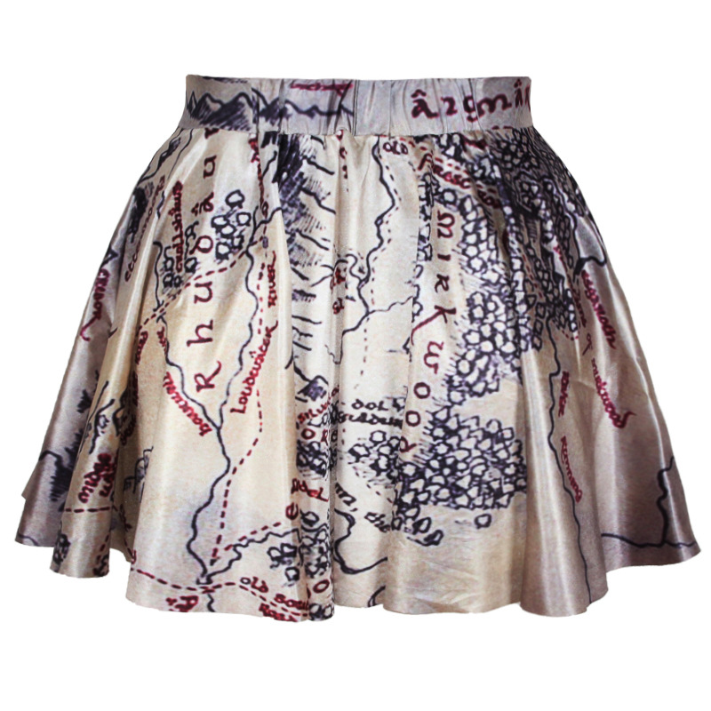 279c71b49a Get Quotations · summer skirts womens pleated skirts The Hobbit Map Printed  Black Reversible SKATER SKIRT Saia S M L XL