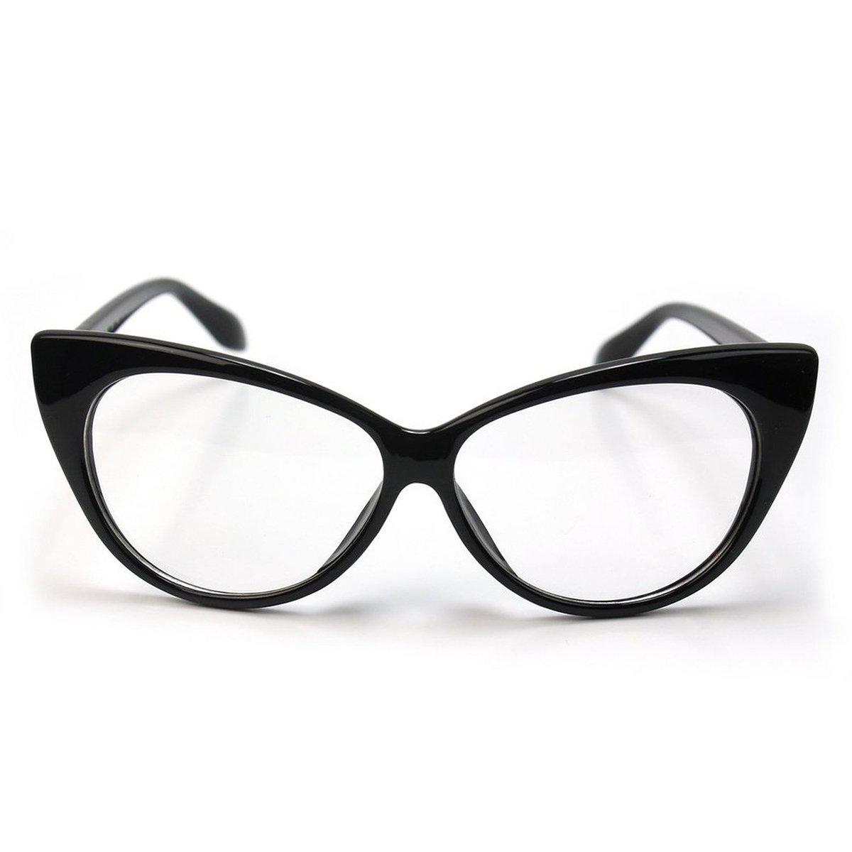 3dd0bff4f7 Get Quotations · Tinksky Cat Eye Glasses Woman Fashion Clear Lens Eyewear  (Black)