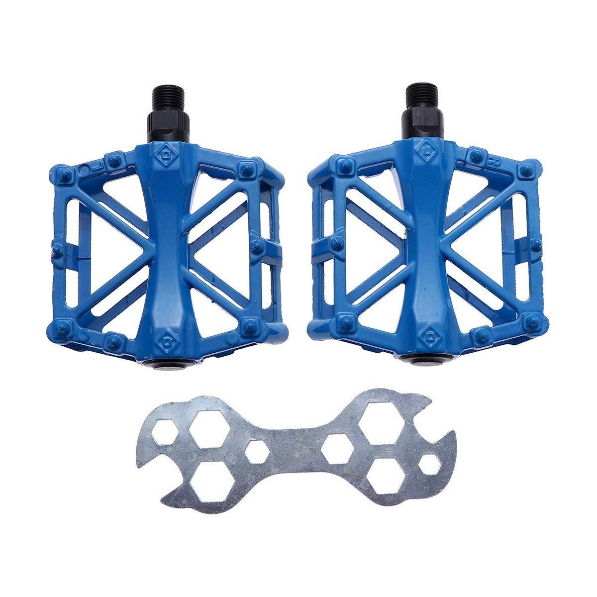 VORCOOL 1 Pair of MTB Bicycle Pedals Fixed Gear Anti-Slip CNC Riding Pedal Mountain Bike Pedal Cycling Sealed Bearing Pedals BMX Road Bike Folding Bike Bicycle Accessories (Blue)