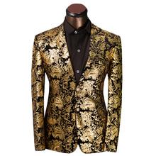 Luxury Men Suit Golden Floral Pattern Suit Jacket Men Fit Prom Suits Tuxedo Brand Wedding Party Blazer Jacket