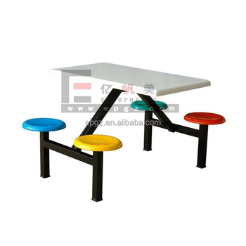 School Canteen Tables And Chairs Fiberglass, 4 Seat School Canteen Table  Chairs In Fabric