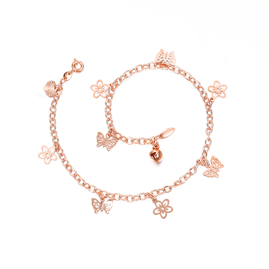 W-70003 Xuping fashion jewelry new design fancy rose gold with butterfly pendant and small bell anklets foot jewelry
