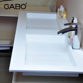 Rectangular Semi-recessed Double Bathroom Vanities Stone Basins ...