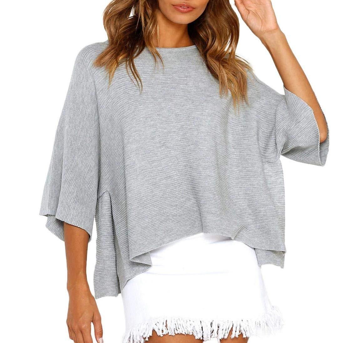 Franterd Women Shirt Ladies Autumn Irregular Hem Casual Tops Solid Pullover Batwing Sleeve, Knitting Stlye