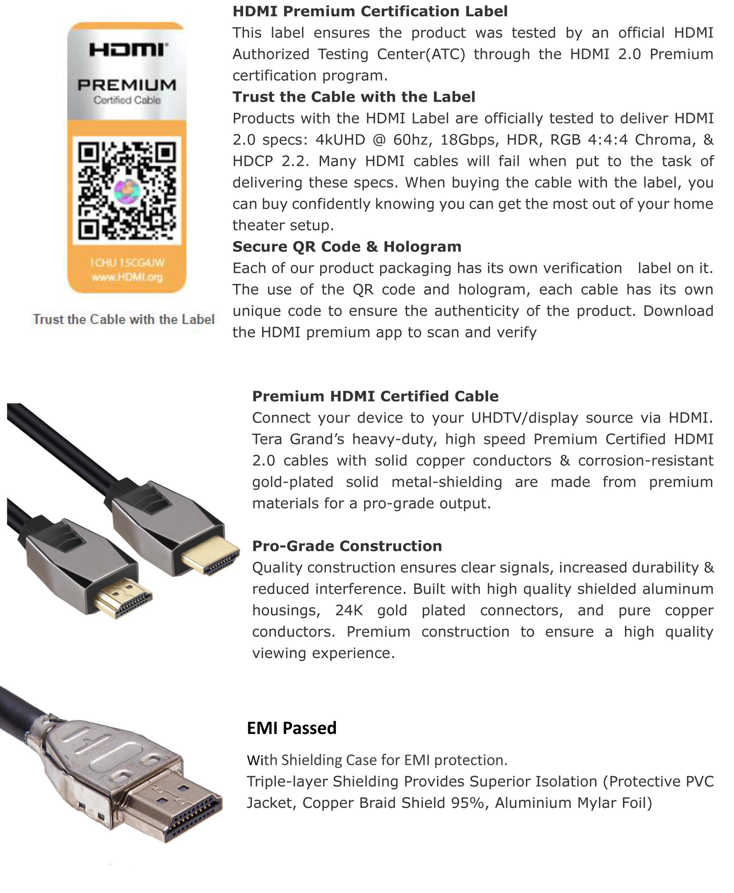 EMI Premium Certified Cable HDMI 2.0 with ethernet support 2016P 4k 18Gbps for xbox 360, HDTV ARC, Surgant