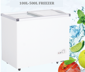 260L High Quality Glass Door Chest Freezer With CE UL