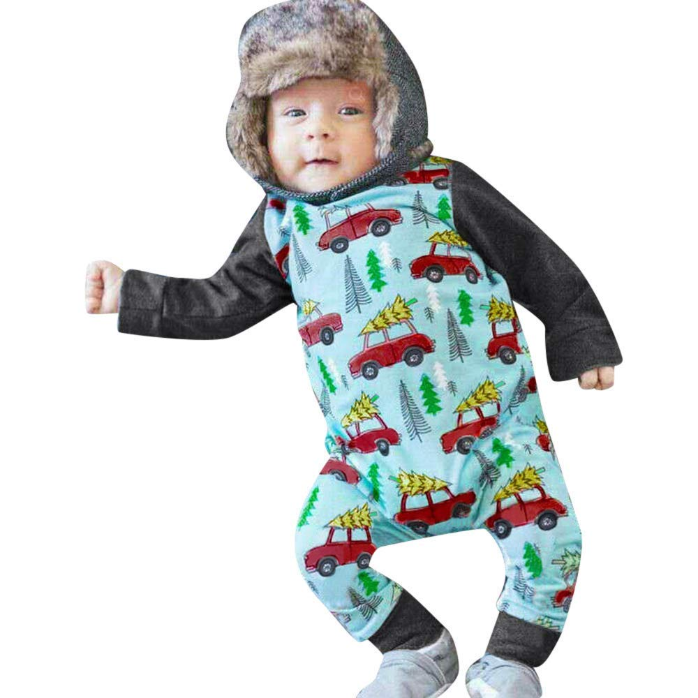 716eb9a6e976 Get Quotations · Christmas Baby Boys Girls Pjs, Long Sleeve Car Print  Jumpsuit Romper Outfit (0-