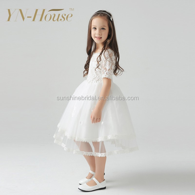 Wholesale Beautiful White Ball Gown Lace Girls Flower Net Dresses ...