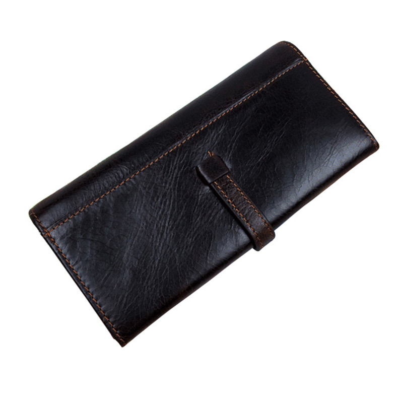 Hot 2015 fashion black long men wallets 100% genuine leather wallet vintage brown porte monnaie casual credit card holder wallet