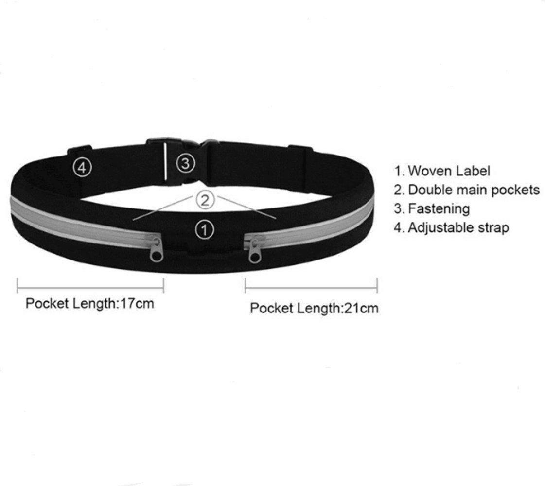 Running Belt Waist Pack,Dual Pouch design, Outdoor Waterproof and sweat Reflective Waist Fanny Pack Belt / Fitness Workout Belt