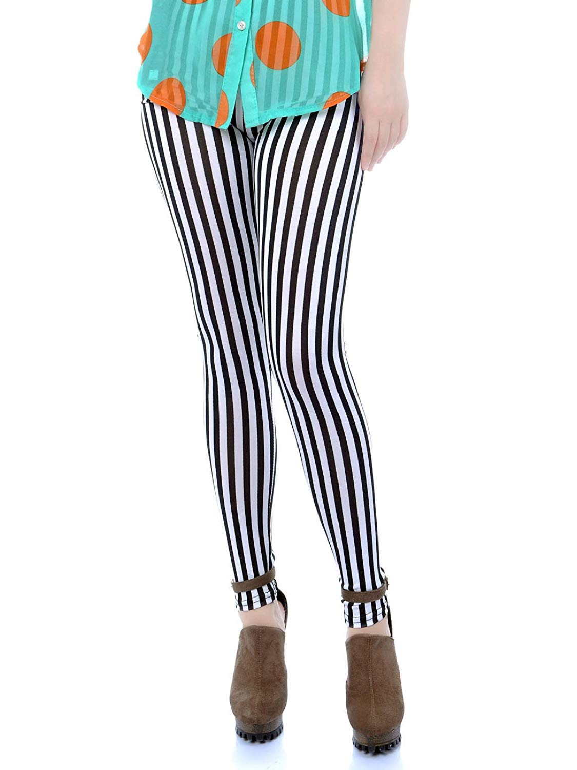 2ec0112479e96 Get Quotations · Anna - Kaci Womens Black White Punk Vertical Stripe Tights  Leggings, Black / White,
