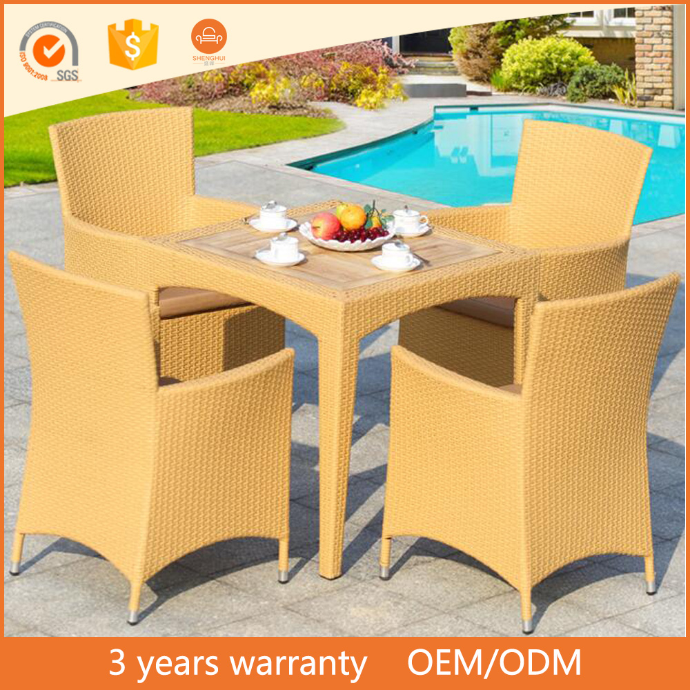 Cheap outdoor wicker rattan wood top table and chair dining set japanese restaurant furniture
