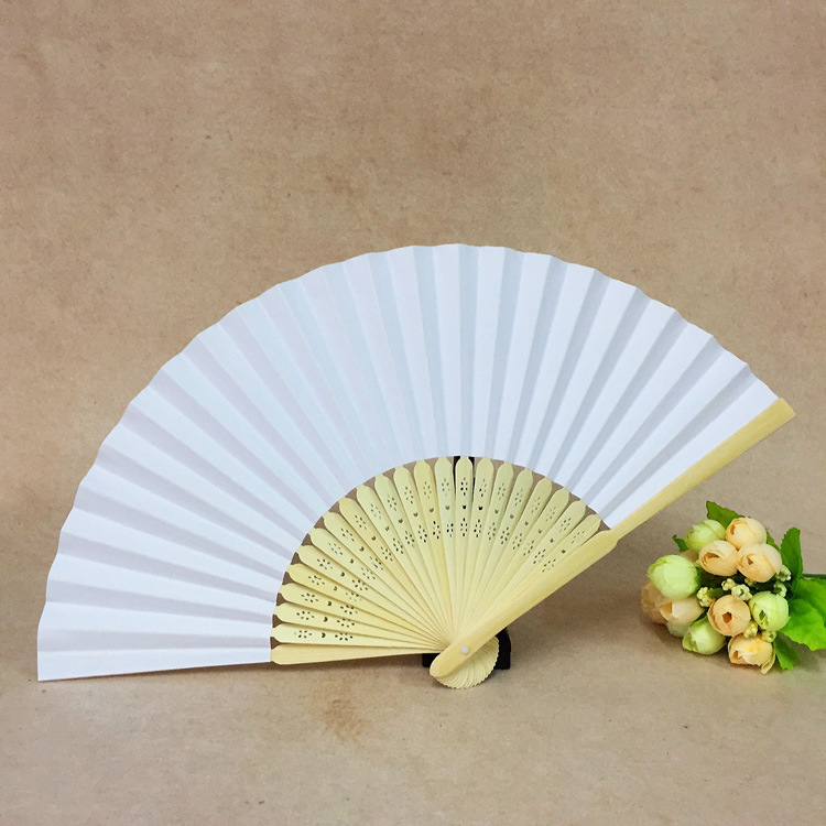 Hot selling wedding program Chinese bamboo paper fans