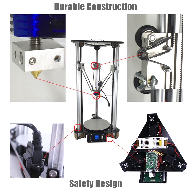 2019 high precision diy kossel delta 3d printer kit smart leveling auto feeding filament large size metal 3d printer for sale