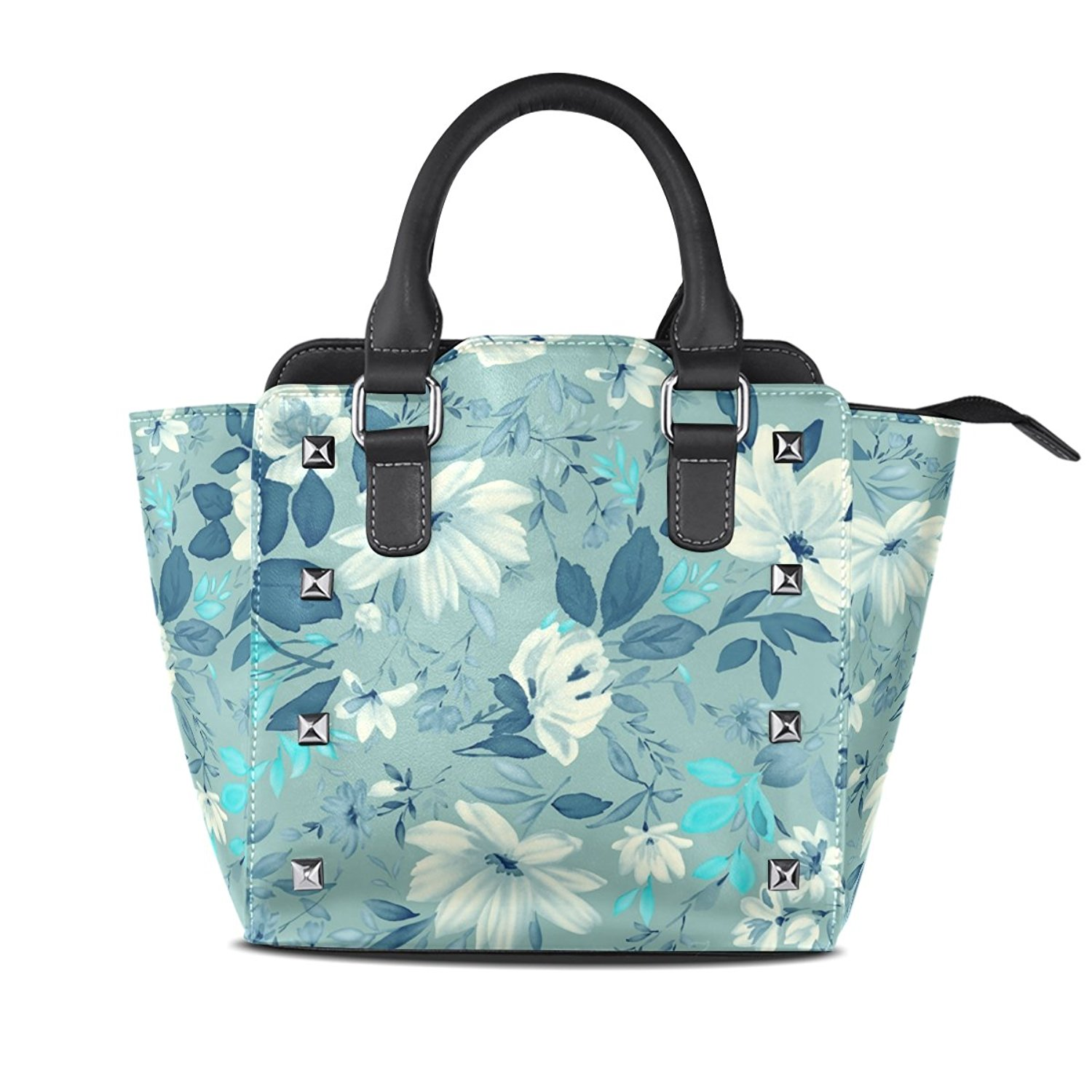 Sunlome Vintage Floral Pattern Women's Leather Tote Shoulder Bags Handbags