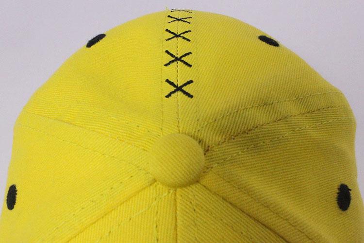 26e0b7543 Personalizado 6 painel bonés de beisebol letras bordados emoji amarela