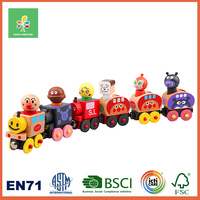 Wooden cute figure & train and Track toys for children ,multi-level layout