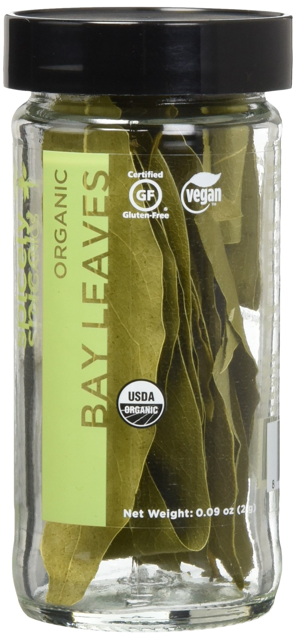 Spicely Organic Bay Leaves California Whole 0.09 Ounce Jar Certified Gluten Free
