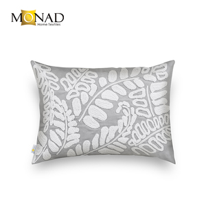 Rectangle Pillowcases Leaves Gray Embroidery Cushion Cover for Office Chair