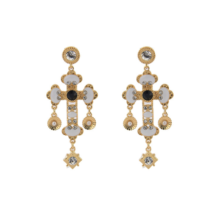 china manufacture Europe fashion jewelry wholesale new Ladies crystal Cross Earrings JLE230