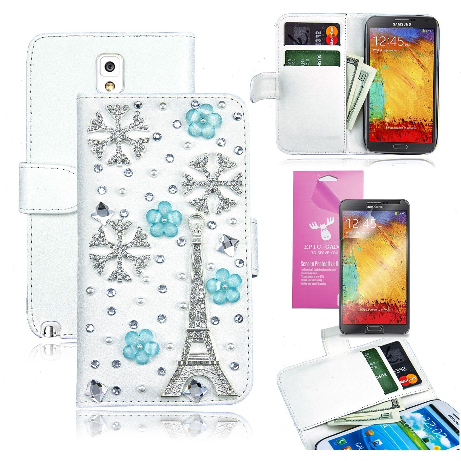 EpicGadget(TM) For Samsung Galaxy Note3 Handmade Luxury Champagne Gold Crystal Bling Bling White PU Leather Case With Crystal Bow Knot Wallet Case Magnet Flip Cover With Credit Card Holder Pouch + Note 3 N9000 Screen Protector + 1 Stylus Pen (Random Color) (US Seller!!) (White Eiffel Tower