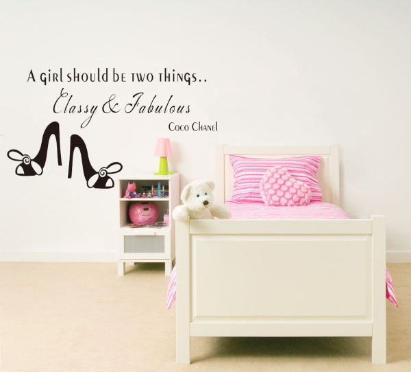 Coco Chanel English saying a girl should be two things Classy & Fabulous quote wall stickers home decor vinyl wall stickers