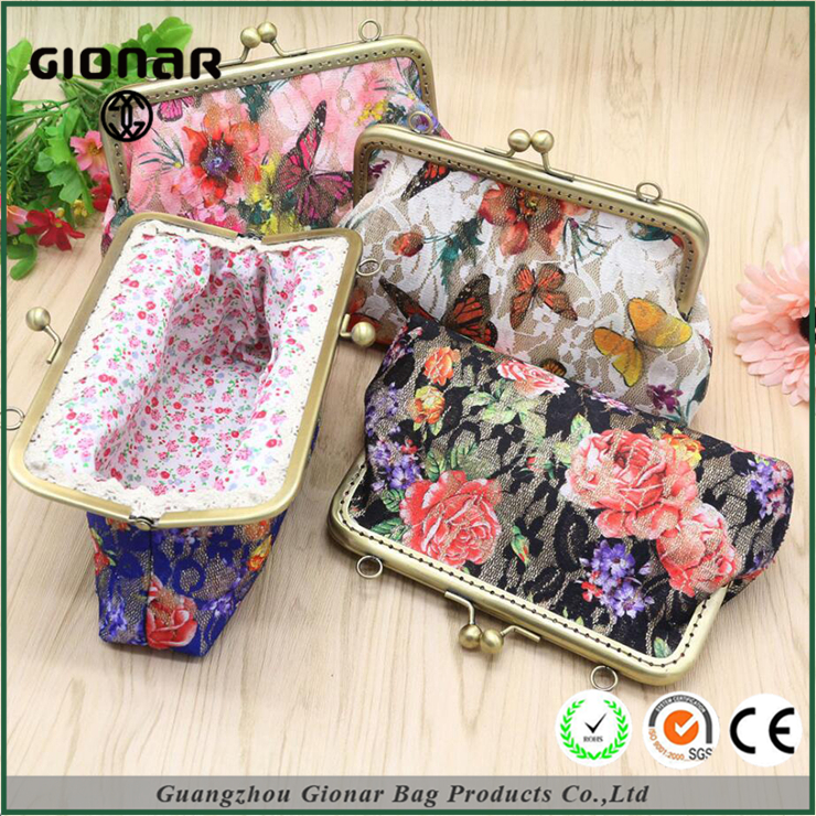 Wholesale China Factory Long Chain Flower Butterflies Embroidered Fabric Evening Clutch Shoulder Bag The Wallet