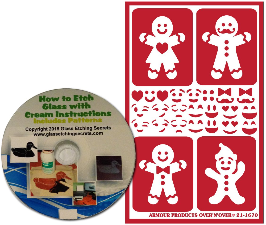 Get Quotations Gingerbread Man Stencils For Christmas Use Glass Etching Or Painting Reusable Free