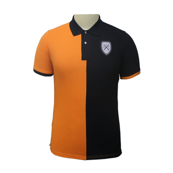 e70a786f2 Custom High Quality Private Label Orange Black Polo Shirt With Embroidery  Patch