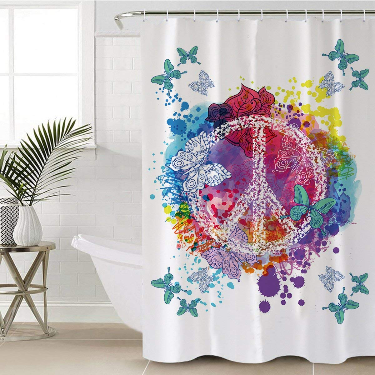 Get Quotations Sleepwish Butterfly Shower Curtain Fabric Hippie Turquoise Butterflies Peace Sign Water Proof Mold Resistant