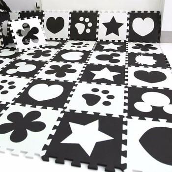 White Black Baby Jigsaw Puzzle Ecofriendly Baby Play Mat Antislip - Black and white interlocking floor mats