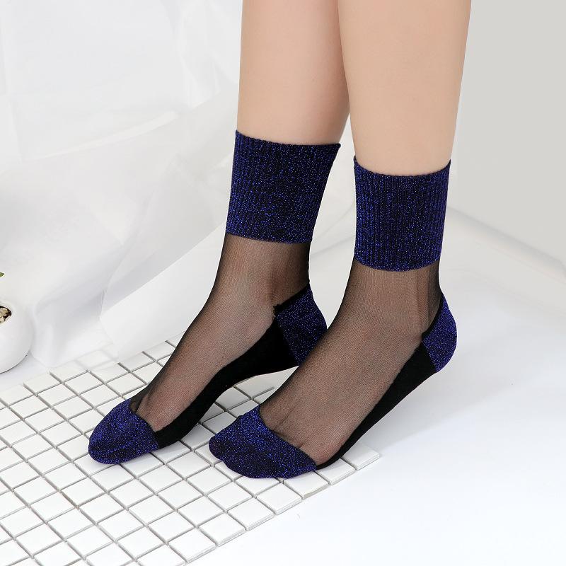 Сексуальные кружевные сетчатые шелковые носки в сетку, прозрачные эластичные тонкие женские носки, 1 пара = 2 шт. TMD03(Китай)