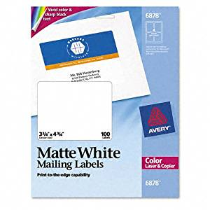 Avery : Shipping Labels for Color Laser & Copier, 3-3/4 x 4-3/4, Matte White, 100/Pack -:- Sold as 2 Packs of - 100 - / - Total of 200 Each