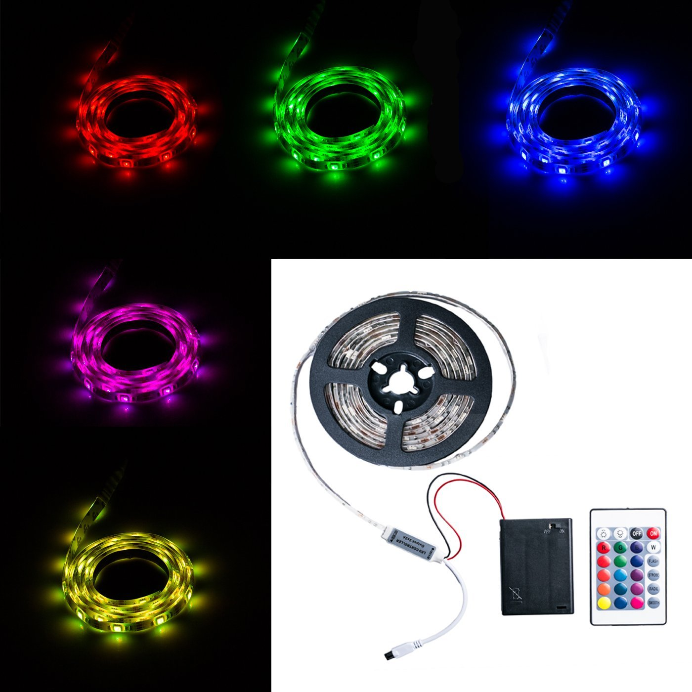Battery Powered Led Strip Lights,Geekeep Waterproof Flexible LED Light Strips SMD 5050 LED Ribbon Light Mood Light (1M/3.28ft, RGB+Remote Control)