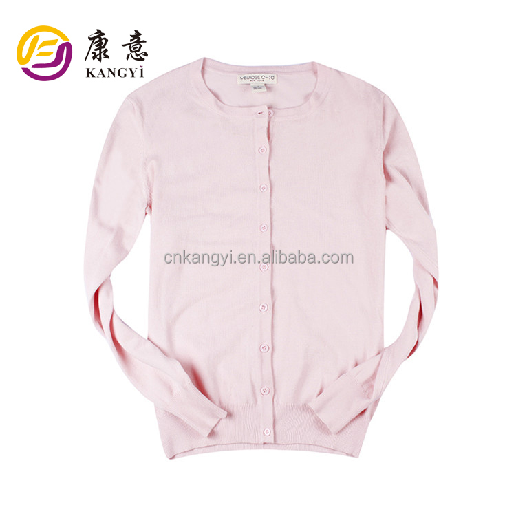 OEM & ODM Service Pure Color Knitted Cardigan Sweater for Girl 2017