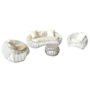 All- weather 4 seater PE rattan weaving outdoor furniture with cushion for courtyard wholesale