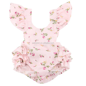 Summer Kids Ruffle Pink Jumpsuit Girls Floral Print Backless Romper